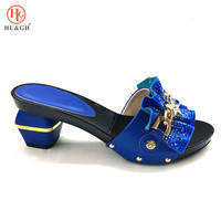 New Arrival African Pumps Shoe Summer High Heels High Quality African Sandals Heels Pumps Royal Blue Color African Wedding Women
