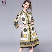 Merchall Fashion Designer Runway Shirt Dress 2018 New Autumn Women High Quality Vintage Retro Graphic Printted Short