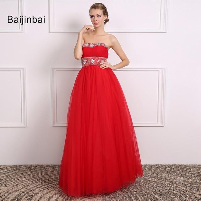 d4671c170516 Baijinbai New Real Red Wedding Dress 2018 Sleeveless Sequin Vestido De  Noiva Zipper Strapless Tulle Cute Bridal Dresses710173