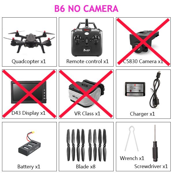 MJX Bugs 6 B6 Dron 1600kv Brushless Motor Profissional Drone With Camera HD 7.4V 1300mAh Battery RC Quadcopter 2.4G Quadrocopter