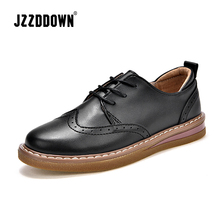 JZZDDOWN genuine leather womens shoes Large Size women oxford shoes Ladies loafers shoes woman Lace up Female sneakers footwear
