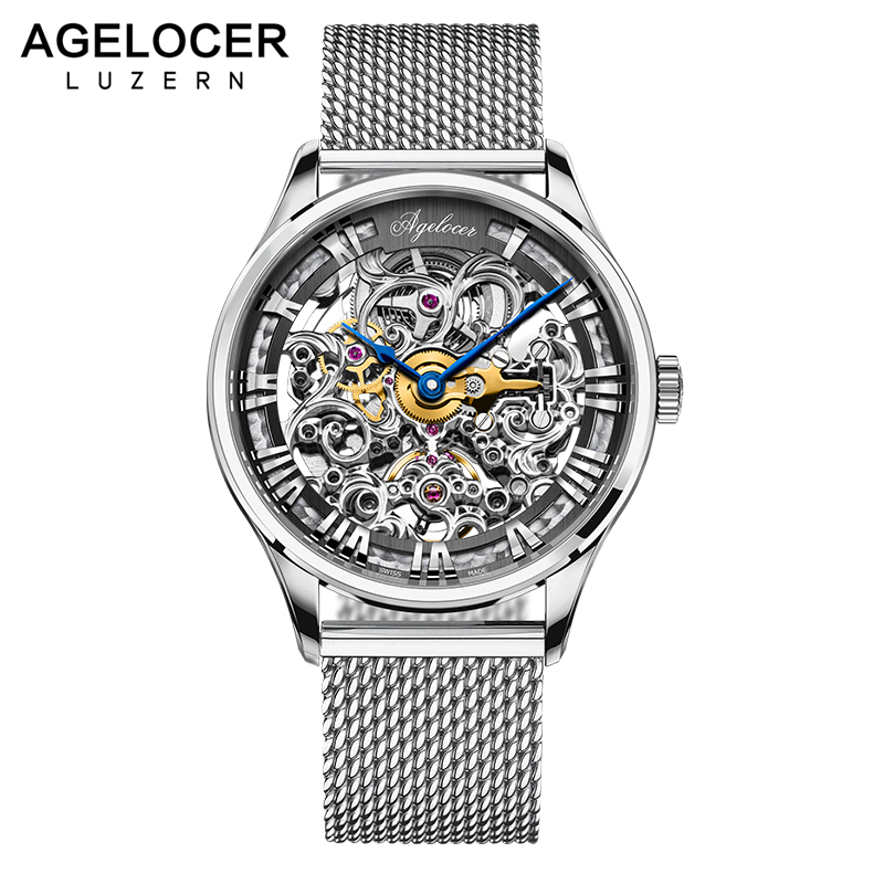 где купить AGELOCER Silver Stainless Steel Mens Skeleton Watch Top Brand Luxury Fashion Automatic Watch Hollow Out Men Watches Luxury по лучшей цене