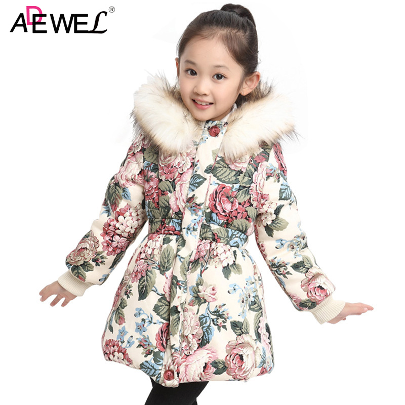 Cotton Padded Warm Girls Coat New Autumn Winter Style Kids Thick Jackets for Girls Flower Printed Hooded Children Outerwear new arrival 2016 vintage ethnic hooded cotton padded flower printed linen women long maxi winter coat outwear a3772