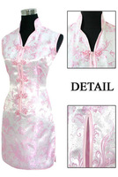 FREE SHIPPING Sexy Pink Chinese Tradition Ladies Cheongsam Qipao Evening Wedding Mini Club Dress Size S