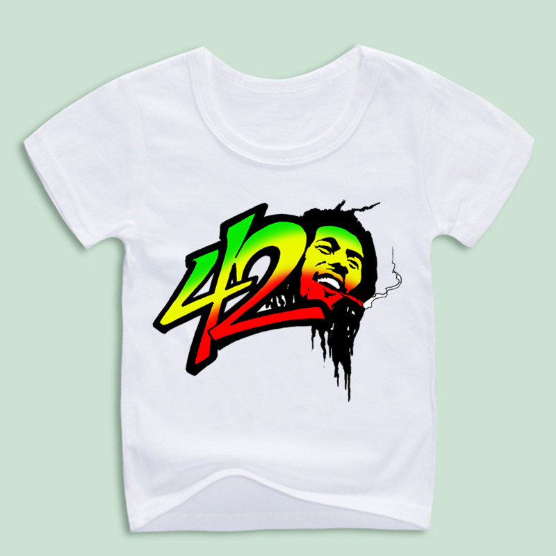 Boy and Girl Bob Marley Reggae Rastafari T-shirts Children Summer Hip Hop Swag T shirt Cartoon Kawaii Tops Tee