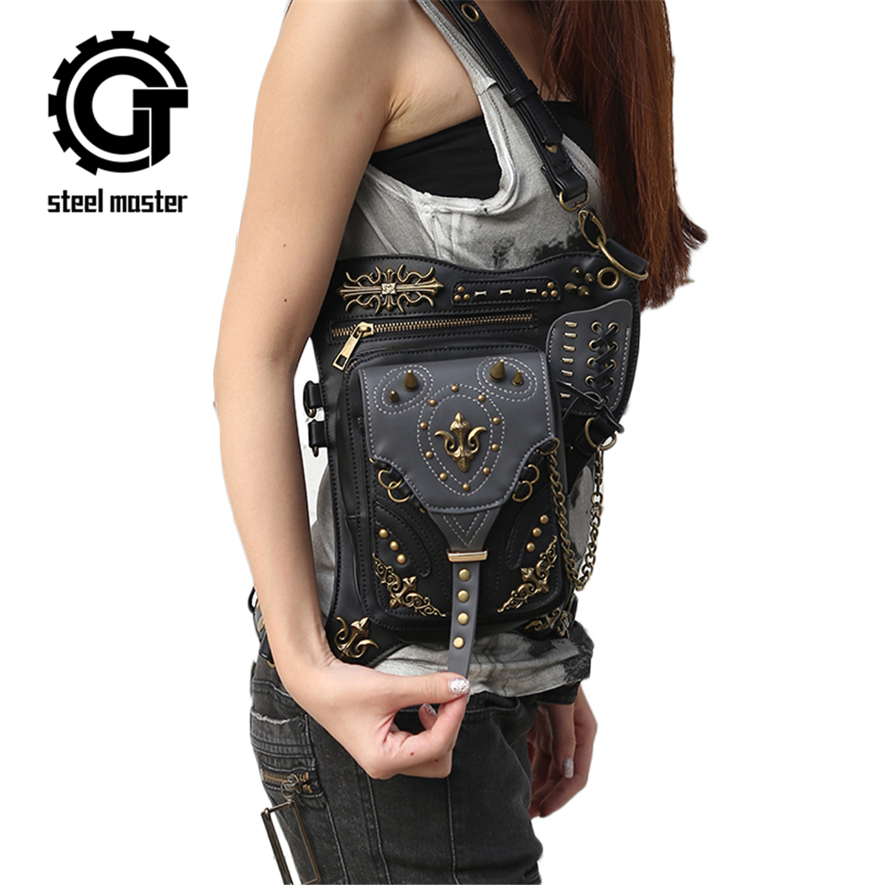 Fashion Gothic Steam Punk Retro Rock Bag Men Women Waist Bag Leg Shoulder Bag Phone Case Holder Women Messenger Bag 2017 chrismas gift steampunk bag steam punk retro rock gothic bag goth shoulder waist bags packs victorian style women men leg