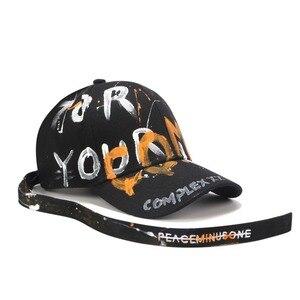 Image 3 - [RoxCober] di Modo Fatti A Mano graffiti berretto da baseball Cappellini per Gli Uomini le donne cinghia Lunga Snapback Cappellini Regolabile Hip Hop cappelli Visiere unisex