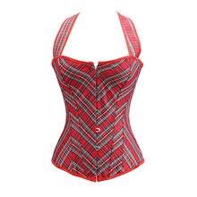 Sapubonva halter corset tops vest red plaid corset bustier straps vintage  plus size burlesque costumes korsett vintage fashion 9209d6f512