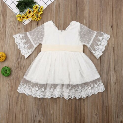 Spring Girls Bridesmaid White Dress Baby Toddler Kids Knee-Length Fashion Party Lace Long Sleeve Bow Wedding Princess Dresses 1