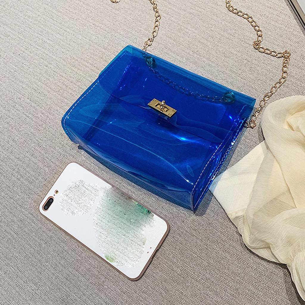 PVC Bening Transparan Tas Bahu Wanita Warna Permen Wanita Jelly Tas Dompet Warna Solid Tas Kantung Utama Femme Selempang tas