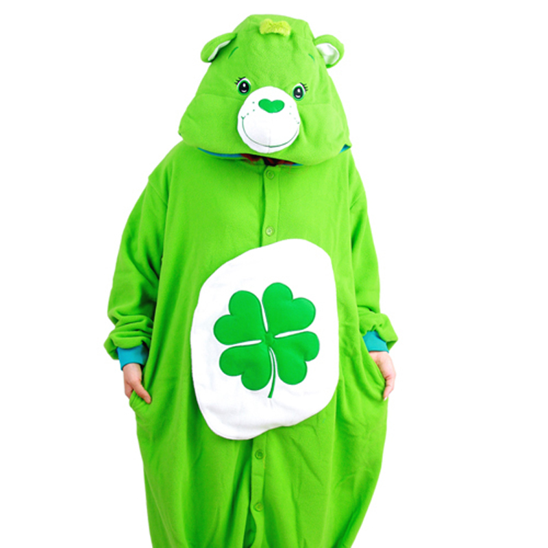 Green Four-leaf Clover Lucky Care Bear Cosplay Pajamas Adult Women Men Unisex Onesie One Piece Hooded Party Costume