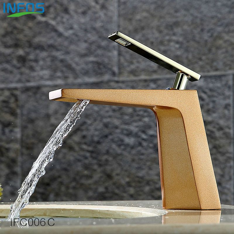 INFOS Waterfall Wash Basin Mixer Pure Copper Tap Single Hole Bathroom Sink Faucets Deck Mounted Torneira Banheiro IFC006 infos brass single hole bathroom sink tall faucets hot and cold water single handle deck mounted mixer tap ifc101