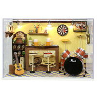 DIY Green Bar Handmade Wooden Dollhouse Assembly Miniatura Guitar Drums Mini House Grownup Puzzle Gift Doll