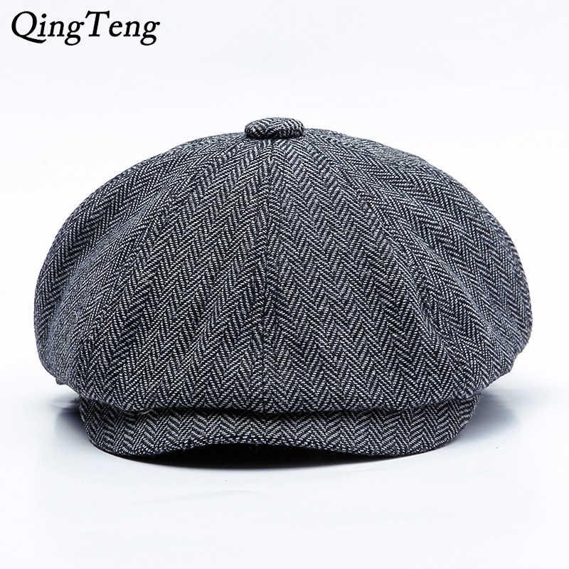 9775a8bd21c Peaky Blinders Men Berets Hat Autumn New Vintage Herringbone Octagon Cap  Women S Casual Pumpkin Hat Gatsby