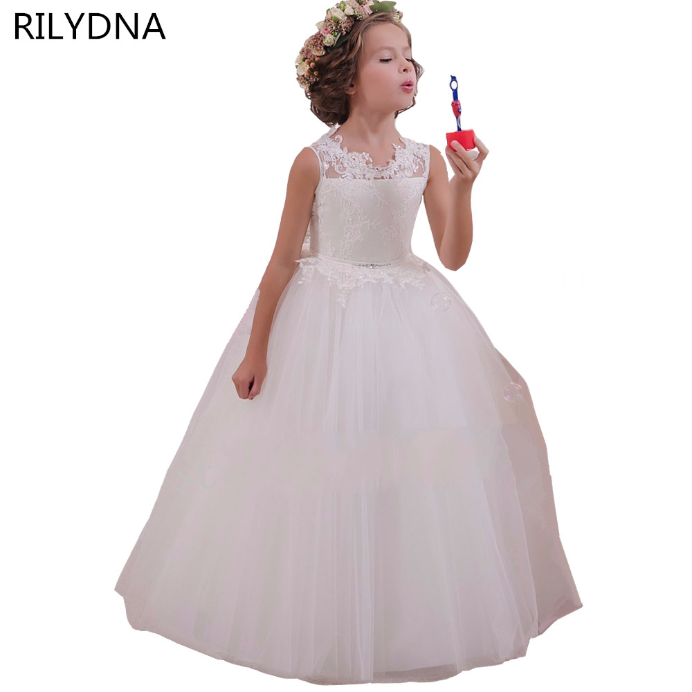 White Flower Girl Dress Kids Ball Gowns First Communion Dresses Pageant Girls Glitz Scoop Sleeveless Floor length Tulle gorgeous lace beading sequins sleeveless flower girl dress champagne lace up keyhole back kids tulle pageant ball gowns for prom