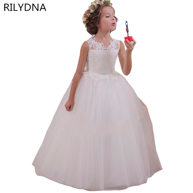 White Flower Girl Dress Kids Ball Gowns First Communion Dresses ...