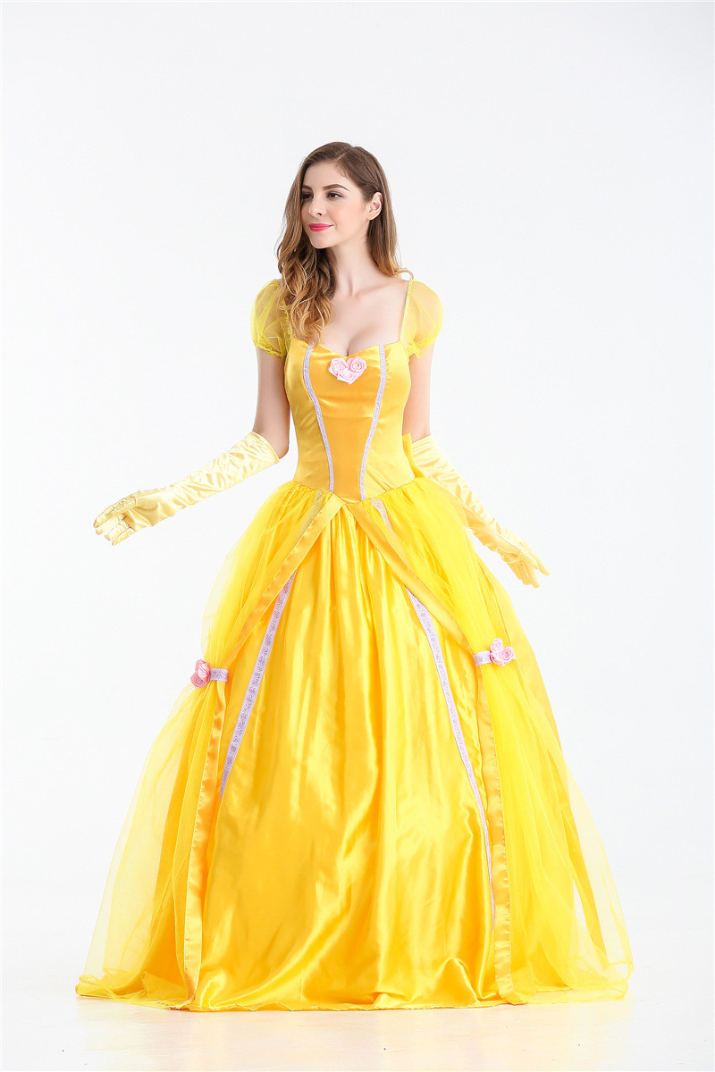 S XXL Beauty And The Beast Cosplay Costume for Women Halloween Costume Adult Princess Belle Dress for Party Yellow Long Dress-in Movie u0026 TV costumes from ...  sc 1 st  AliExpress.com & S XXL Beauty And The Beast Cosplay Costume for Women Halloween ...