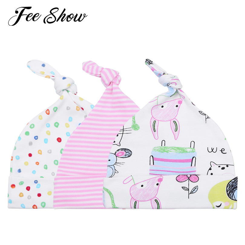 3Pcs Unisex Newborn Baby Boys Girls Cute Soft Cotton Adjustable Top Knotted Adorable Printed Hats Beanies Caps SZ 0-6 Months