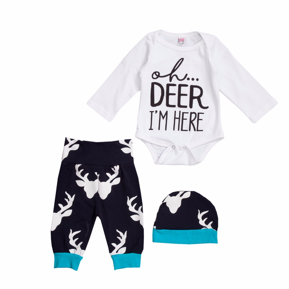 0-24 Month Toddler Baby Clothes Letter Print Romper+Deer Head Print Pants+Hat Set Halloween/Christmas Deer Head Costume for Kids