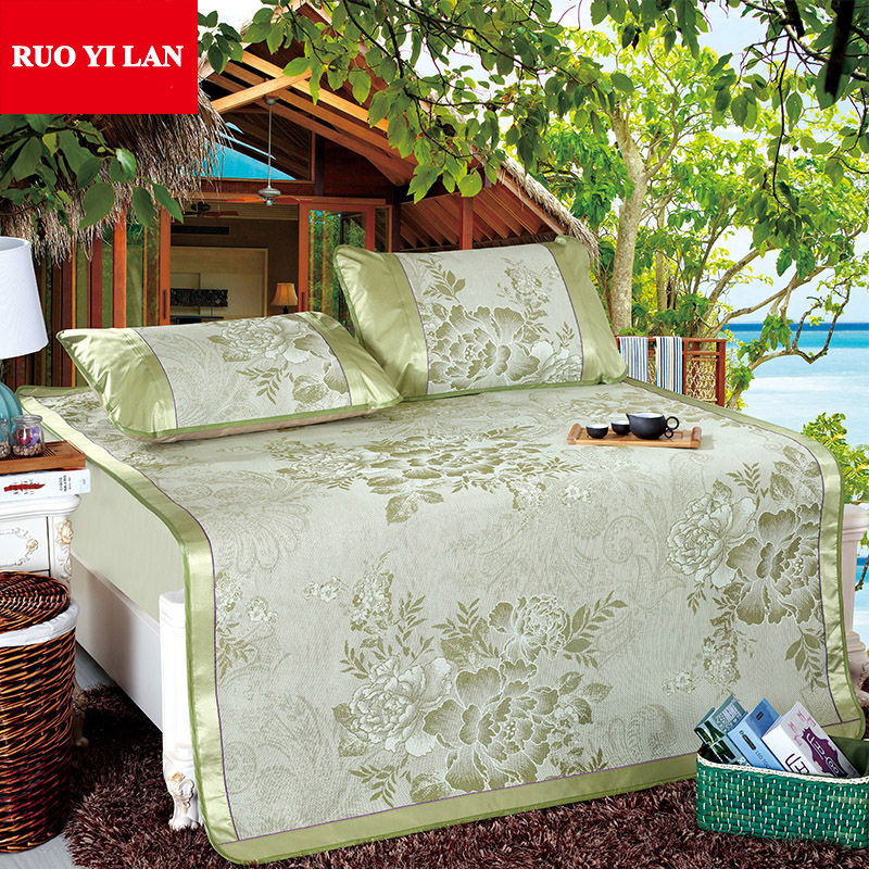 Three-piece Folding Bed-mat Jacquard Summer Sleeping Mat Kit for Adults 1.5m 1.8m Bed wi ...
