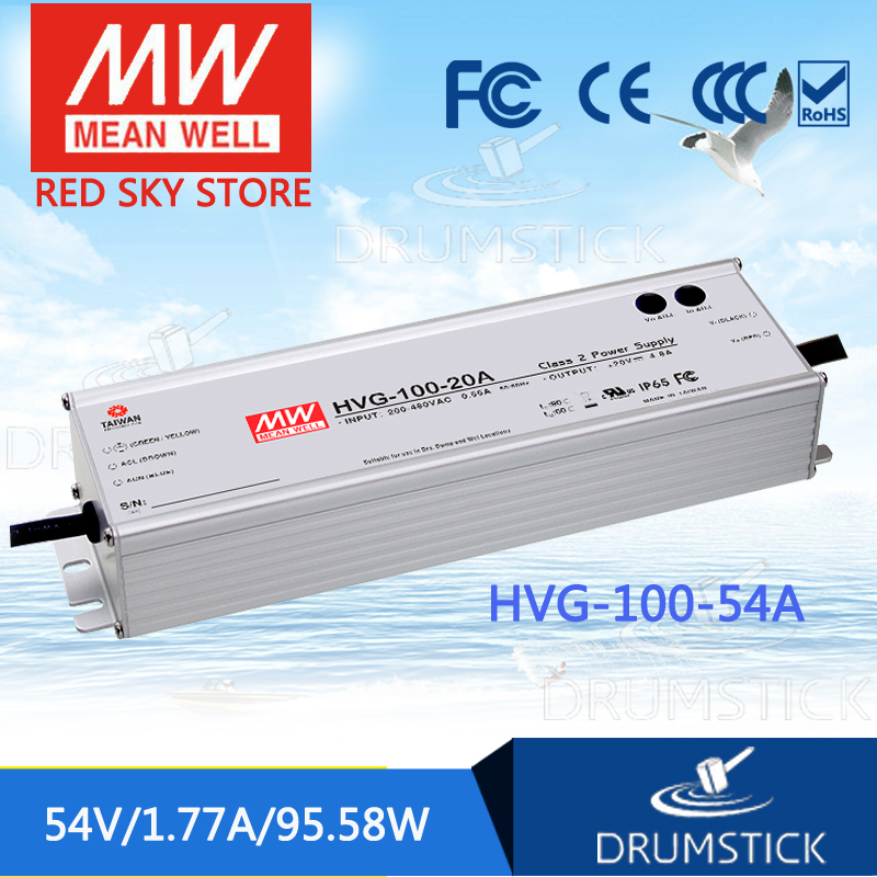 best-selling MEAN WELL HVG-100-54A 54V 1.77A meanwell HVG-100 54V 95.58W Single Output LED Driver Power Supply A type 1mean well original hvg 100 15a 15v 5a meanwell hvg 100 15v 75w single output led driver power supply a type