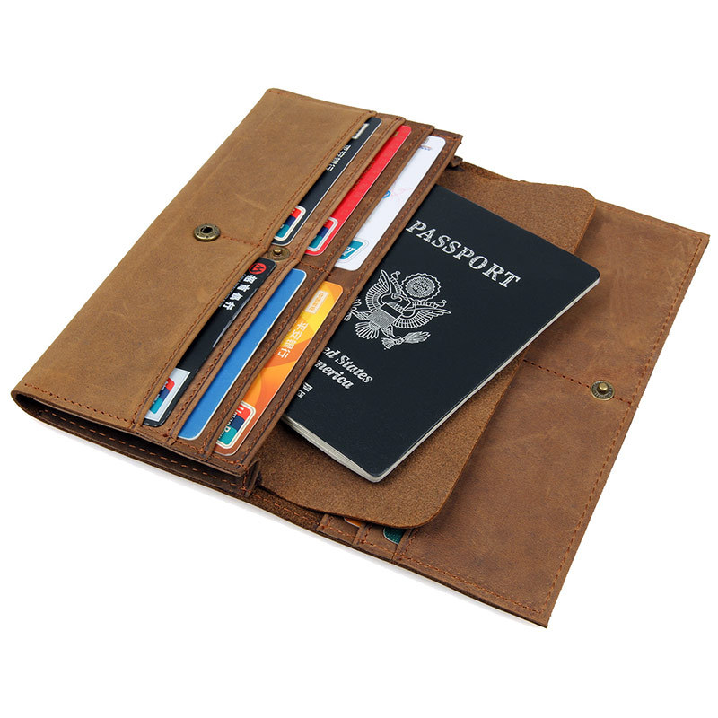 High Quality Passport Cover Wallet Men Crazy Horse Genuine Leather Long Male Purse Card Holders Vintage Travel Wallets #J8110 crazy horse leather men wallet slim vintage genuine leather long purse cowhide bifold wallets with coin pocket and card holders
