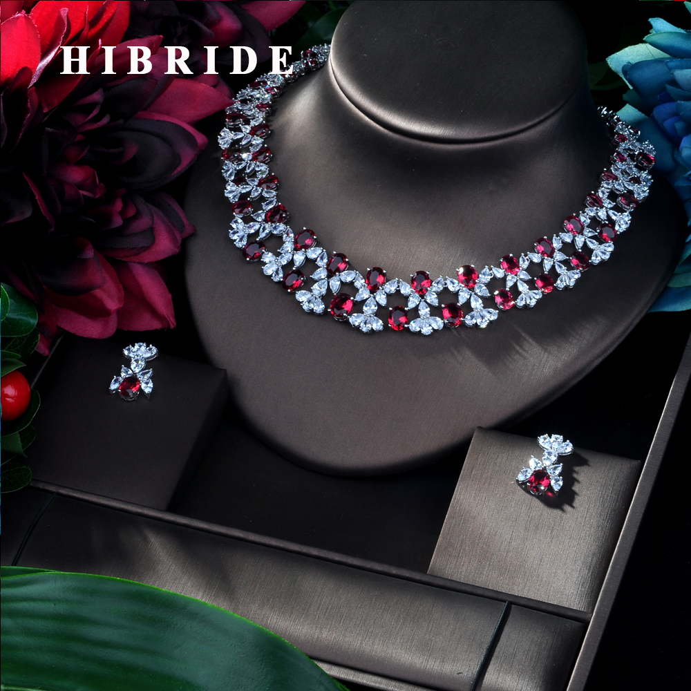 HIBRIDE Luxury Flower Cubic Zirconia Earring Necklace Set Dubai Silver Jewelry Sets For Women Indian Nigerian jewelry N 152