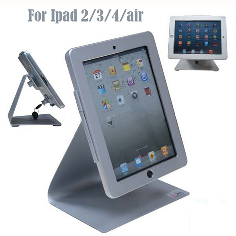 High security metal tablet display stand,Desktop bracket,Tablet lock holder case,Anti-theft device system for ipad 2/3/4/air for ipad 2 3 4 air pro 9 7 desktop secure lock stand with metal frame brace display kiosk pos table security holder on hotel