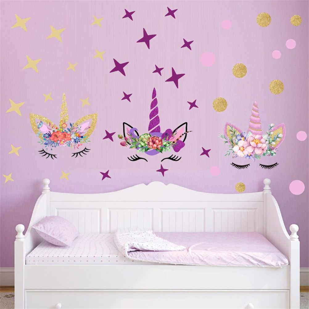 10 أنماط 3D الحيوان يونيكورن النجوم ملصقات جدار الحصان DIY ملصقات فنية للأطفال الأطفال يونيكورن عاشق نوم الحضانة ديكور المنزل