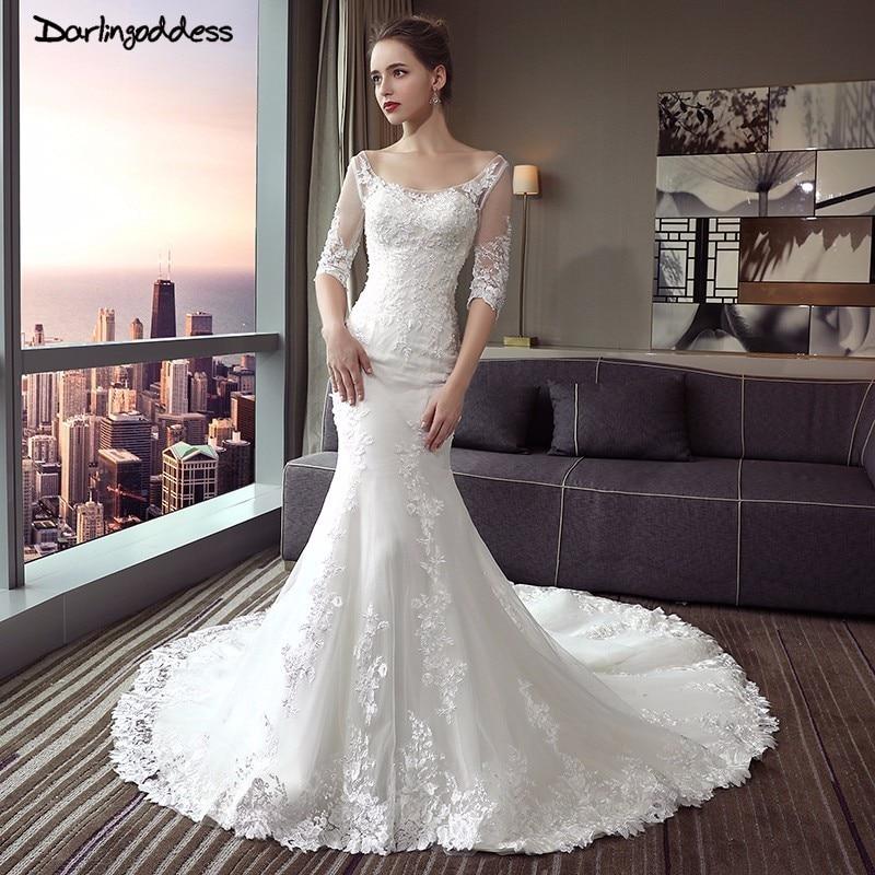 Darlingoddess Backless Ren Mermaid Wedding Dresses Luxury Hafl Tay Áo Sexy Wedding Gowns 2017 Vestido De Noiva Bất Hình Ảnh