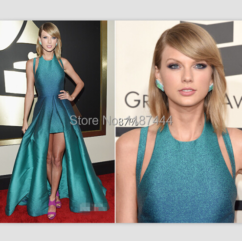 Taylor Turquoise Tones Gown At 2015 Grammy Awards Red Carpet Evening