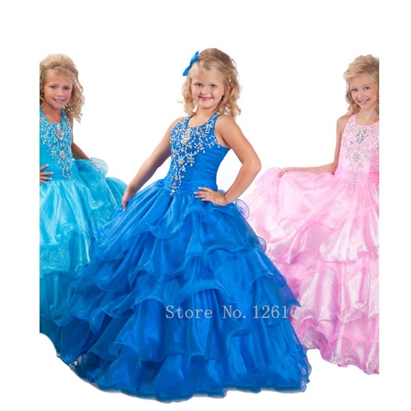 Junior Ball Gown Girls Pageant Dresses Royal Pink Tiers Organza ...