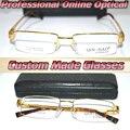 Titanium de la aleación de encargo gafas de lectura semi-rim hombres del oro + 0.5 + 0.75 + 1.25 + 1.75 + + 2.25 + 2.75 + 3.25 + 3.75 + 4.25 a + 6.0