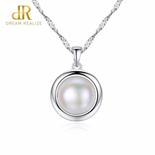 DR Elegant 925 Sterling Silver Fashion Jewelry White Natural Pearl Round Necklace Lindo Style for Women Party Wedding