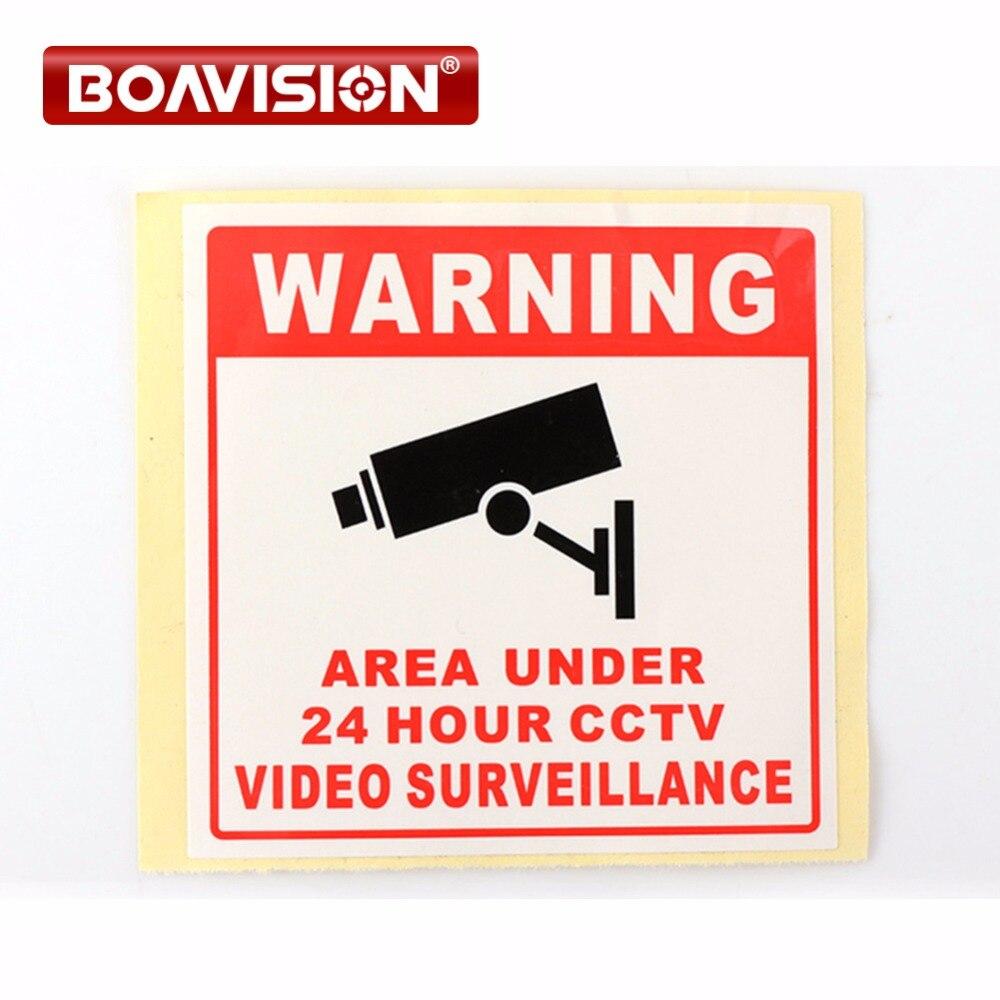 20Pcs 80*80MM Decal Sticker Warning Board 24HR CCTV Camera Surveillance Camera Sticker Warning Decal Signs стоимость