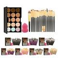 Pro 15 Colores de Maquillaje Crema Corrector Paleta Kits Con 20 Unids Fundación Blush Powder Cepillos Esponja Suave Soplo Cosmético