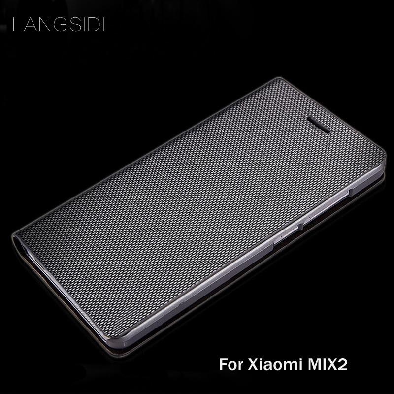 Wangcangli marca cuero genuino caja del teléfono del patrón cubierta shell telefono para Xiaomi MIX2 hecha a mano de