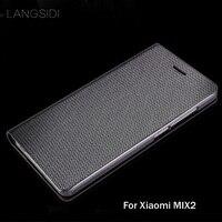 wangcangli brand genuine leather phone case diamond Pattern clamshell handphone shell For Xiaomi MIX2 All handmade