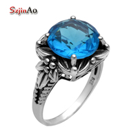 Szjinao Christmas Gift Promotion 100% Women 925 Sterling Silver Wedding Ring Vintage Style 925 Sterling Silver Blue Topaz Ring