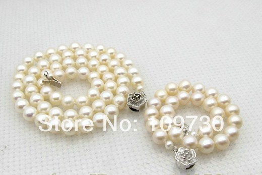 Bijoux 00668 7mm Blanc Perle Ensemble de Bijoux Collier 18
