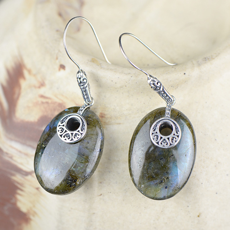 925 Sterling Silver Jewelry Natural Gemstone Labradorite Boho Earrings For Women Wholesale Lots Bulk Jewelry Plata