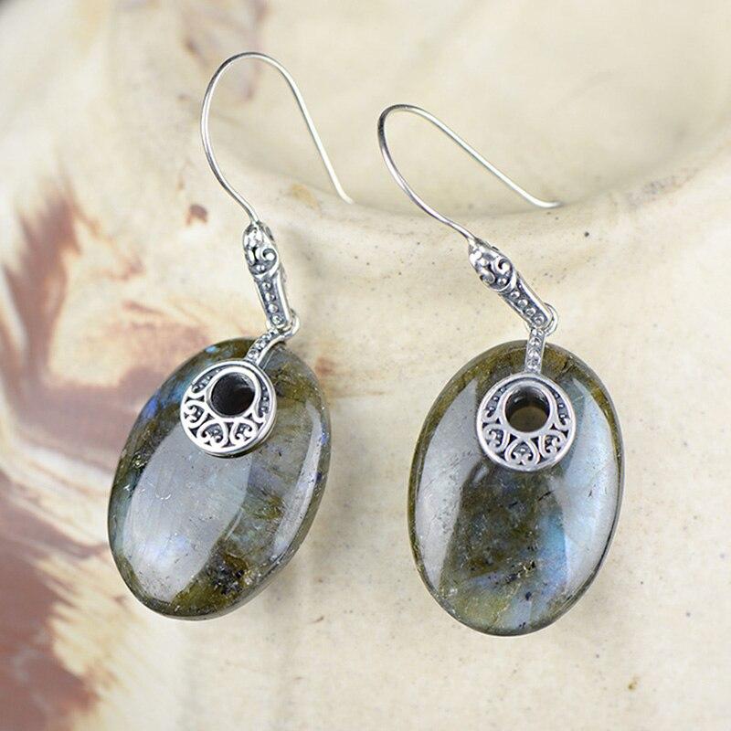 925 Sterling Silver biżuteria naturalny kamień labrador Boho kolczyki dla kobiet sprzedaż hurtowa luzem biżuteria Plata De Ley 925 w Kolczyki od Biżuteria i akcesoria na  Grupa 1