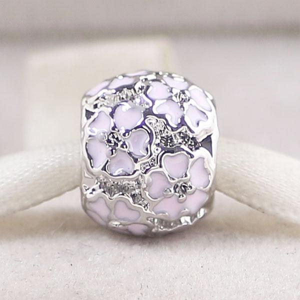 silver color 1pc PINK PRIMROSE MEADOW CHARM Fits European Pandora Charm  Bracelets A058