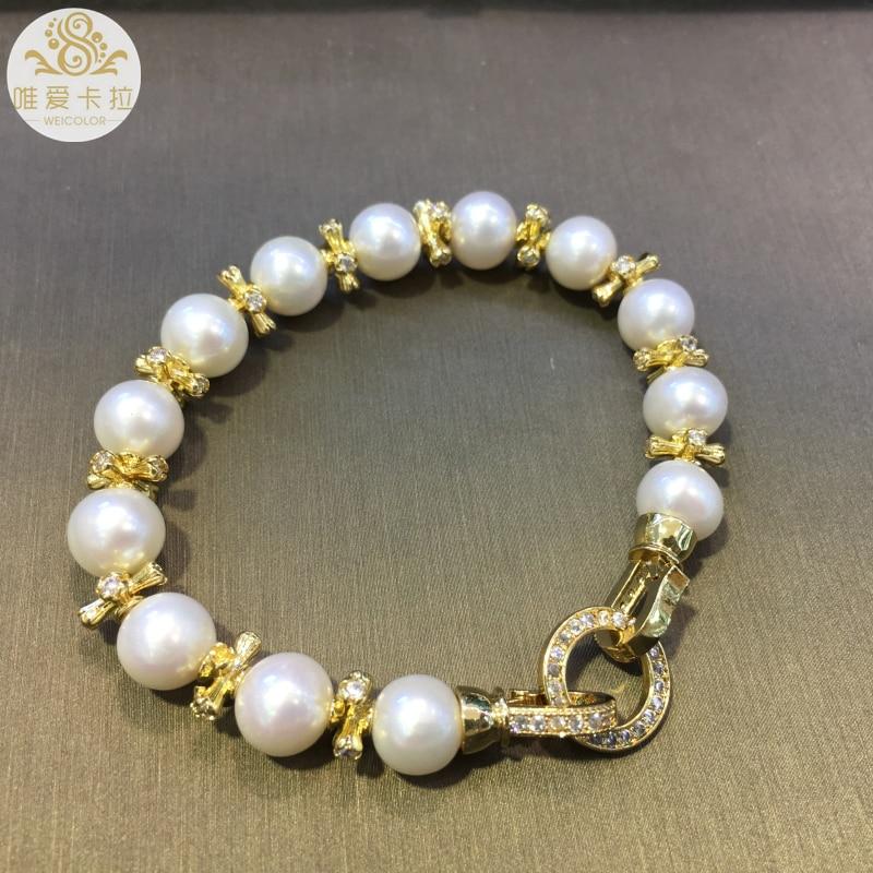 WEICOLOR Bracelet à la mode! Perle d'eau douce naturelle ronde blanche bonne qualité et couleur or clair articles brillants et fermoir - 2