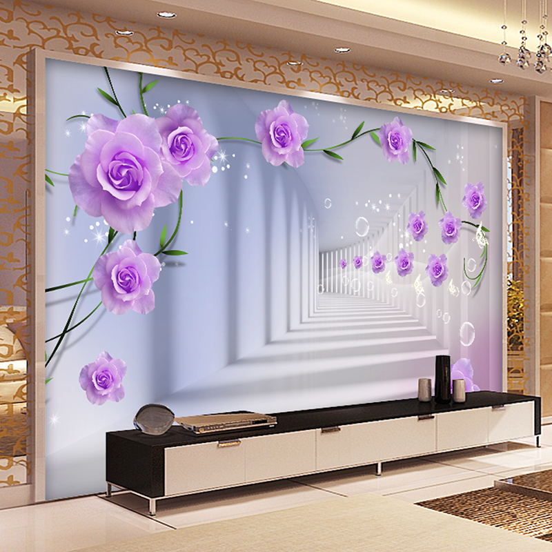 Custom 3D Photo Wallpaper European 3D Stereo Purple Roses Large Mural Living Room Bedroom TV Background Wall Painting Wallpaper custom 3d high quality modern photo wallpaper bedroom living room large background wall mural romantic purple avender wallpaper