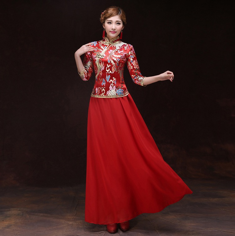 Free shipping robe chinoise traditional femme chinese for Robe col chinois