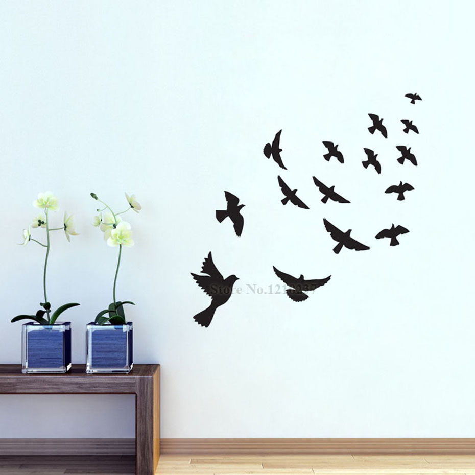 ୧ʕ ʔ୨dctop diy black flying birds vinyl wall sticker for kids