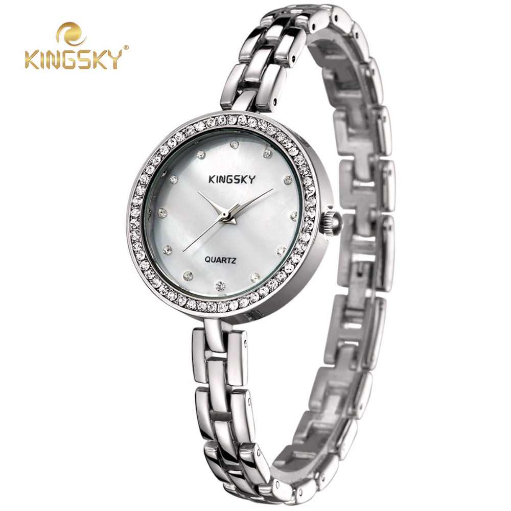 c6e482f88 Aliexpress.com : Buy KINGSKY Small Bracelet Ladies Watches Big Face Gold  Silver Rhinestone Dial Quartz Movement Wristwatch from Reliable wristwatch  gold ...