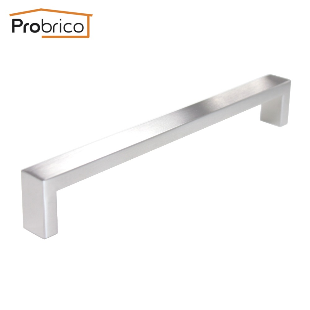Probrico 10 PCS 10mm*20mm Square Bar Handle Stainless Steel Hole Spacing 224mm Cabinet Door Knob Drawer Pull PDDJ30HSS224 2pcs set stainless steel 90 degree self closing cabinet closet door hinges home roomfurniture hardware accessories supply