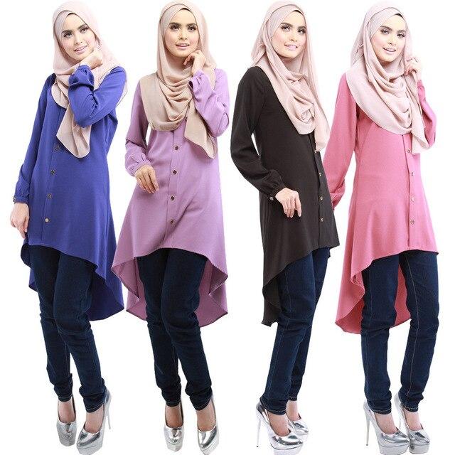 2016 de la alta calidad islamismo girl top camisa ocasional de la gasa manga larga blusas tops plus tamaño para ropa de mujer musulmana